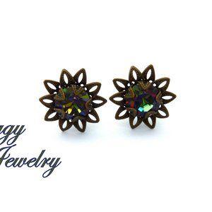 Crystal Vitrail Medium Flower Studs Earrings